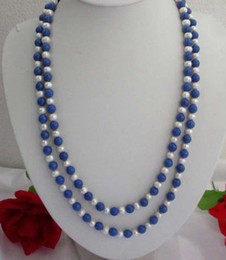 "Wholesale Lapis Pearl Jewelry - FFREE SHIPPING** Long 50"" 7-8MM Natural White Pearl   Lapis Lazuli Round Beads Jewelry Necklace"