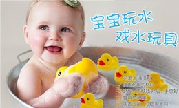 Wholesale Baby Bag Pvc - Wholesale 10pcs bag Baby Bath Toy with Sound Kids Mini Yellow Rubber Duck Swimming Bathe Gifts Free Shipping