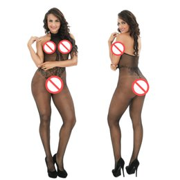Wholesale Crotchless Teddy Lingerie - Crotchless Sexy Fishnet Bodystocking Halter Lace Plus Size Hollow Out Women Sexy Teddies Highly Stretchable Bodystocking Sexy Lingerie