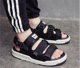 Wholesale Black White Fabric Yard - 2017 Fashion Beach Sandals High Quality Summer Leather romance couple Sandals Hot Sale Big Yards Size 35-44