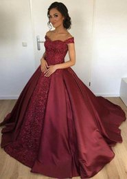 Wholesale Long Sparkly Beaded Prom Dresses - Sparkly Beaded Sequined Burgundy Evening Dresses Formal 2017 Luxury Off Shoulders Prom Party Gowns Long with Detachable Train