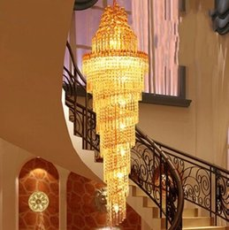 Wholesale Gold Mounting Pendant - NEW Gold Chandelier Palace Swirl Large Crystal Pendant Lamp Villas Hotel Hall Light Staircase Lights Droplight MYY