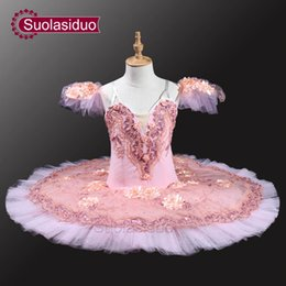 Wholesale Women Flower Tutu - Pink Peach Professional Ballet Tutus Adult Pancake Tutu Women Classical Ballet Tutu With Flowers SD0037 Stage Dancewear Costomes
