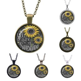 Wholesale Tin Toy Retro - Retro fashion Charm sunflower you are my sunshine time pendant necklace jewelry necklace women girl toys gifts