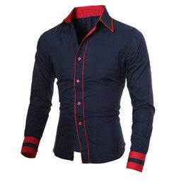 Wholesale Men S Double Collar Shirts - Wholesale- Fashion Men's Casual Long Sleeve Shirt Male Formal Evening Party Dress Shirts Business Man Turn Down Collar Blouse blusas Nov22