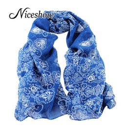 Wholesale Wholesale Charms For Scarves - Wholesale-Charming Scarves Chinese Traditional Design Chiffon Pink Blue Colorful Floral Printed Scarf For Women New 2016 Fashion