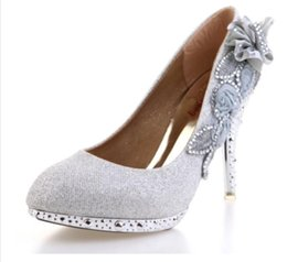 Wholesale Party Shoes For Ladies - Ladies Christmas High Heels For Women Platform Wedding Shoes Hot Sale Silver Wed Bridal Heel Party Shoe Ladies High Heeled Open Shoes