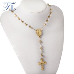 Wholesale Mens Rosaries - TL 4MM Mens Chain Gold Color Stainless Steel Big White Bead Chain Rosary Jesus Christ Cross Pendant Long Necklace