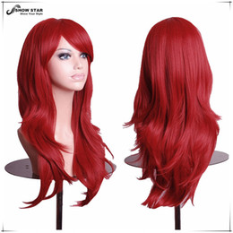 Wholesale Miku Wigs - Fashion Hatsune Miku Wig Curly Wave Hair Burgundy Long Synthetic Wig for Black Women Wine Red Anime Cosplay Perruque Peruca Wig Cosplay wome