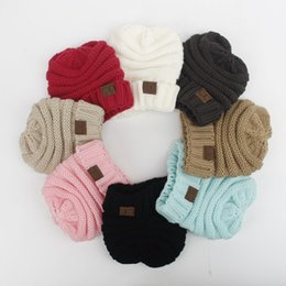 Wholesale Wholesale Crown Gifts - Kids knitted Warm Cotton Beanie Skull CC hats Children's Crown Hat Caps Christmas Gift 8 Color B001