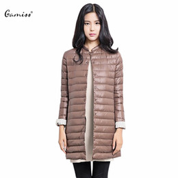 Wholesale Thin Down Jacket Women Green - Gamiss Casual Ultra light Down Coat Parkas for Women Outwear Winter 2016 Female Snow Warm Long Thin Duck Down Jacket Coat Laides