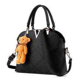 Wholesale Teddy Bear Handbags - Wholesale- Fashion 2016 women handbag with a Teddy Bear high quality designer handbag Girl PU leather tote bag female black shoulder bag