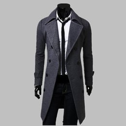 Wholesale Trench Fashion Men - New Fashion Trench Coat Men Long Coat Winter Famous Brand Mens Overcoat Double-Breasted Slim Fit Men Trench Coat Plus Size
