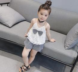 Wholesale Kids Vest Tie - 2017 2pcs Cute Baby Kids Girls Bow tie Sleeveless Tops Vest+Shorts Bottoms Baby Clothes Set Sunsuit