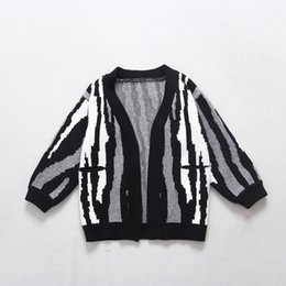 Wholesale Han Edition Rabbit - Spring knitting wool cardigan han edition of private zebra striped rabbit wool clothes loose coat