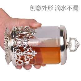 Wholesale Sugar Glass Jars - Wholesale- Sealed glass storage bottle for honey or salt or sugar with silver holder and cover Candy jar