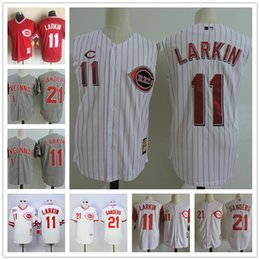 Wholesale Xxl Vests Men - Mens Cincinnati Reds Vest Vintage Jersey #11 Barry Larkin 21 Deion Sanders White pinstripe gray 1990 Throwback Stitched sleeveless Jerseys