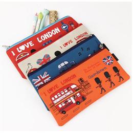 Wholesale File Storage Case - Kawaii I Love London Pencil Case Soldier Oxford Pencil Bag File Case Holder Storage Stationery School Supplie Student Gift