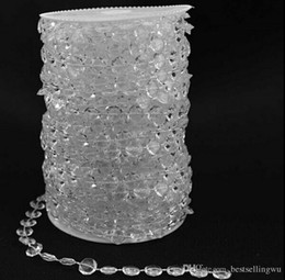 Wholesale Crystal Clear Curtain - 99FT Garland Diamond Strand Clear Acrylic Crystal 10mm Beads Chain DIY Wedding Curtain Party Decorations supplies