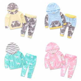 Wholesale jumpsuits for infants - Hot Style Autumn Romper Infant Clothes For Baby deer printing Jumpsuit 2pcs set Toddler Casual hooded clothes suit