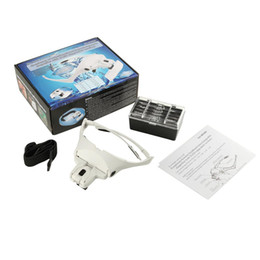 Wholesale Magnifying Magnifier - Wholesale-Headband Magnifying Glass1.0X 1.5X 2.0X 2.5X 3.5X 5 Lens Adjustable Loupe Magnifier with LED Magnifying Glasses free shipping