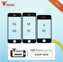 Wholesale Iphone 4s Front Replacement Lcd - Front Outer Glass LCD Screen Replacement Lens Repair Part Touch Screen for iPhone 5 5C 5S 4 4S Black White Free Ship