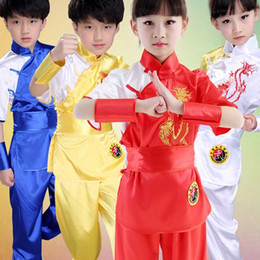 Wholesale Chinese Boys Suit - Wholesale- Children Chinese Traditional Wushu Costume Martial Arts Uniform Kung Fu Suit for Kids Boys Girls Stage Performance Clothing Set