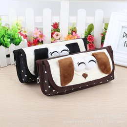 Wholesale Cute Pencil Cases For Girls - Cute Plush fabric pencil case plush dog Cartoon design pencil pouch pen sack for student kids girl by new design pencil case