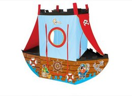 Wholesale Toy Tent For Kids - Wholesale- New Hot Baby Child Indoor Toy Tents Play House Catoon Pirate ship Game Tent Z11-1 ball Pool for kids Quality free shipping