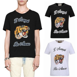Tigre masculino camiseta on-line-Homem T-shirt do tigre T da letra do Chefe do bordado impresso Stretch algodão Shortsleeves Slim Fit Estilo Top Male em torno do pescoço
