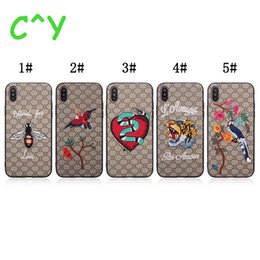Wholesale Iphone Proof Protective Case - High Quality Embroidered Tiger Bird For iPhone X 8 Plus 7 6s 6 Plus Back Cover Protective Case Shock-Proof Case 5 pattern