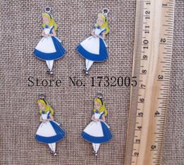 Wholesale Alice Wonderland Charm - New Cartoon Alice in Wonderland Princess DIY Jewellery Making Metal Charm Pendants Jewelry Making Party Gifts A200
