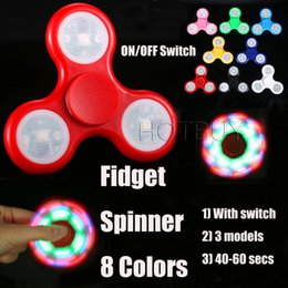 Wholesale Wholesale Tip Up Lights - ON OFF Switch LED Light Up Hand Spinners Fidget Spinner Triangle Finger Spinning Top Colorful Decompression Fingers Tip Tops Toys #4321