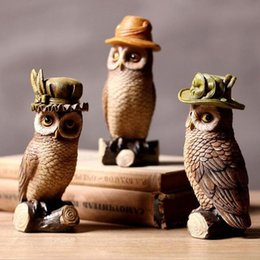 Wholesale Antique Collectible Figurines - 3PCS SET American Style Resin Owl Figurine Creative Antique Imitation Artificial Home Decoration Crafts Art Collectible ZA3902