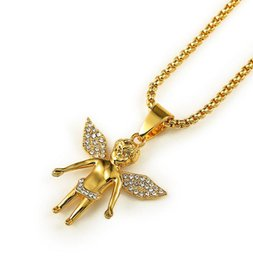 Wholesale Real Angels - 18K Real Gold Plated Men's hip hop Boy girl angel wing Tag Pendant Necklace 80cm Long mens hip hop Rock angel Necklace Jewelry