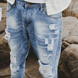 Wholesale Men Jeans Size 36 - Fashion Men Slim Fit Ripped Jeans Streetwear Mens Distressed Denim Joggers Knee Holes Washed Destroyed Jeans Plus Size MNZK01 RF