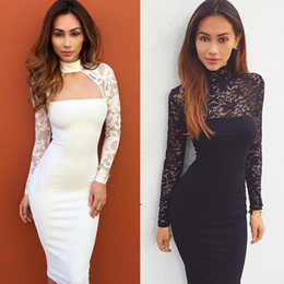 Wholesale Knee Length Cocktail Dresses Women - New Women Sheer Lace Party Club Dress Long Sleeve Keyhole Midi Bodycon Dresses Slim Skinny Cocktail Prom Dress Autumn Winter Dresses DZG0601