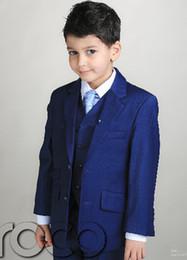 Jaqueta direta smoking on-line-Custom made Meninos Crianças terno Formal Dois botões Em linha reta bolsos Festa de Casamento Terno Tuxedo 3 peças (Jacket + Pants + colete)