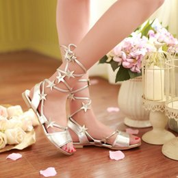 Wholesale Cute Summer Heels - Fashion Summer Casual Leisure Sexy Cute Comfortable Flat Star Sandal,golden silver 2 Color