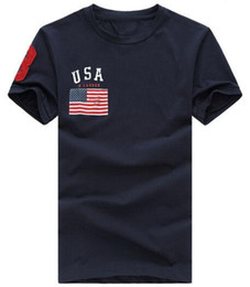 Active Classic Men Fashion USA Flag Print T-shirt casual con Big Horse Summer Fitness T-shirt da uomo TAGLIA S-XXL T-Shirts uomo Bianco da bandiera fitness fornitori