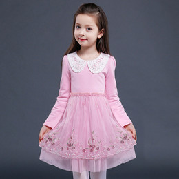Wholesale Winter Girl Cute Images - 2017 Autumn Winter High Quality Embroidery Mesh Long Sleeve Girl Dress Pink Cute Event Princess Children Cotton Short Mini Wedding Dress