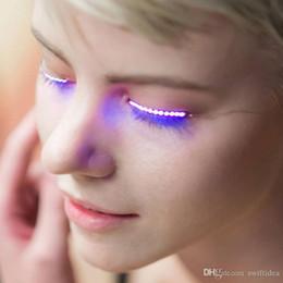 Wholesale Led Eyes Halloween - Led Eyelash Light Double Eyelid Paste Luminous False Eyelash Lamp Button Led Eyelashes Halloween Gift Glowing Eyes Nightclub