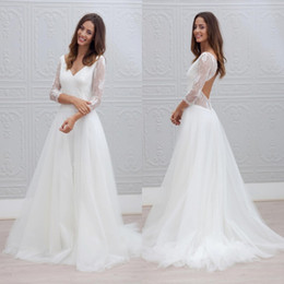 Wholesale cheap romantic dresses - Modest Romantic Summer Beach Simple White Wedding Dresses A Line Sexy Backless Sheer Long Sleeves V Neck Long Bridal Gowns Cheap