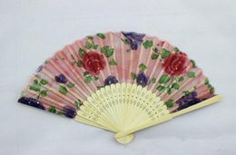 Wholesale Tang China Wholesale - 21cm Chinese Silk Folding Bamboo Hand Fan Fans Art Handmade Flower Lady Fan Random Color Good Quality