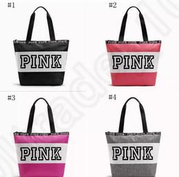 Wholesale Small Tote Purse Wholesale - Pink Letter Handbags VS Shoulder Bags Pink Purse Totes Travel Duffle Bags Waterproof Beach Bag Shoulder Bag Shopping Bags 10pcs DHL