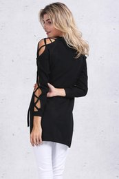 Wholesale Sweater Cross Hollow Out - Hollow out split sweater women Sexy v neck cross sleeve knitted pullover pull femme Chic black party tops female