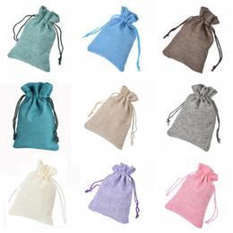Wholesale Gunny Bags - Wholesale- 30 Pieces Solid Colors Burlap Jute Sack Bag Drawstring Gunny Candy Bags Wedding Favors 30WB03S