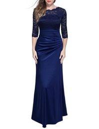 Wholesale Lace Floral Slim Prom Dress - Women's Retro Floral Lace Vintage 2 3 Sleeve Slim Ruched Prom Dress Wedding Maxi Dress