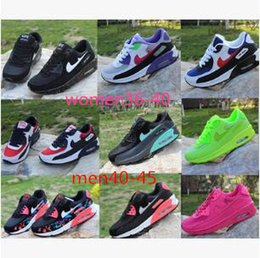 Wholesale Patchwork Cushions - Mens Sneakers Shoes classic 90 Men and women Running Shoes Black Red White Sports Trainer Air Cushion Surface Breathable Sports Shoes 36-45