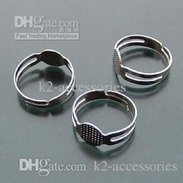 Argentina 100 unids / lote $ 4 tono de plata en blanco ajustable DIY anillo base pegamento JOYAS 18 mm envío gratis Suministro
